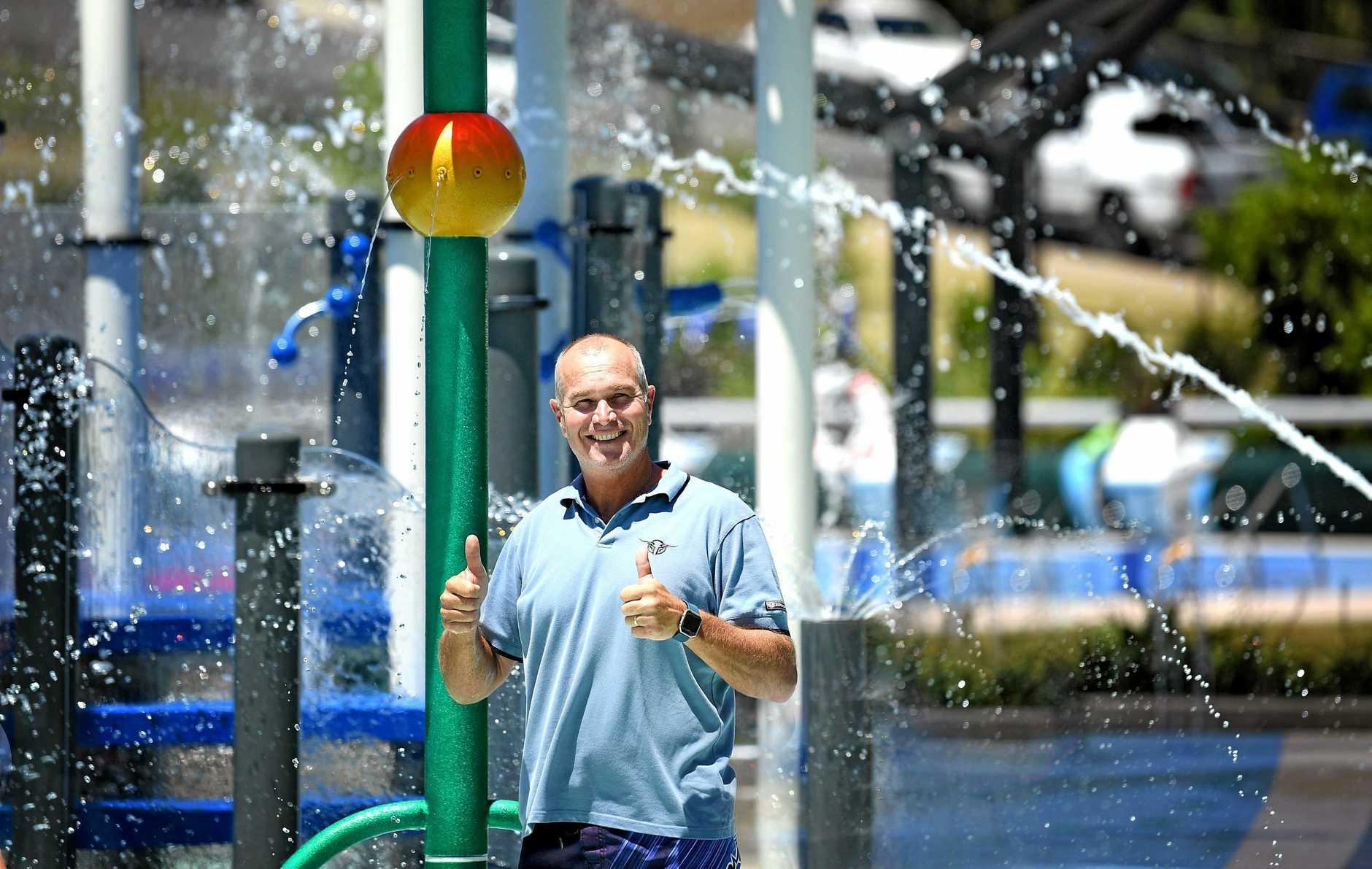 Councilor Bob Leitch at the Gympie Aquatic Centre . Australia day free entry.