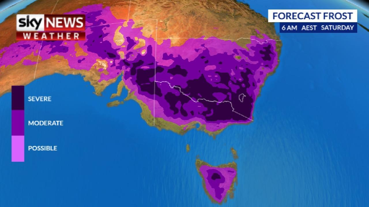 Widespread frost will descend on the south east of Australia this weekend. Picture: Sky News Weather.