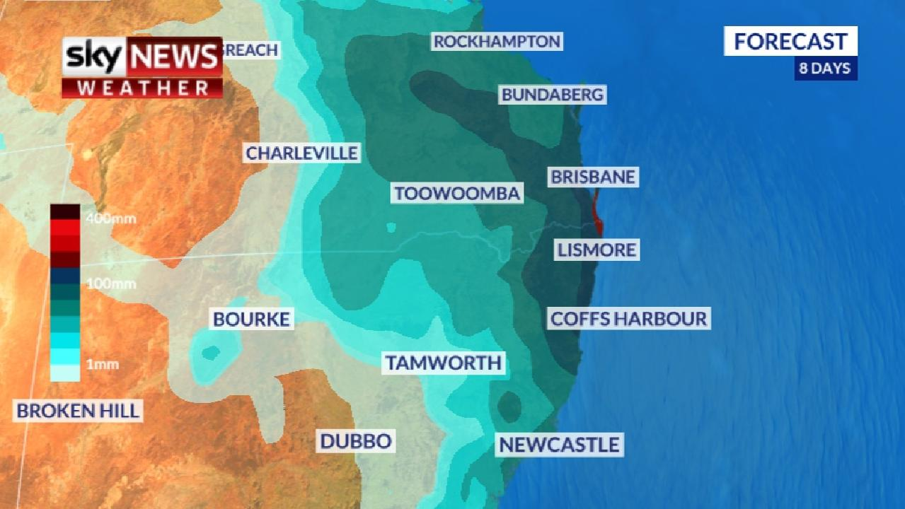 Heavy rain is forecast for NSW and Queensland early to mid next week. Picture: Sky News Weather.