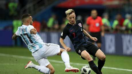 Ivan Rakitic of Croatia is tackled by Nicolas Otamendi of Argentina. Picture: Getty