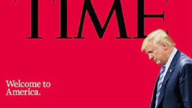 Time magazine's new cover is not a good look for Donald Trump. Picture: Time