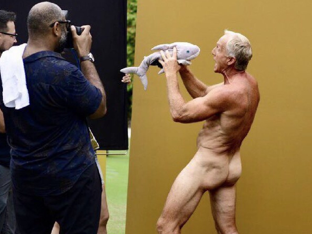Australian golfing legend Greg Norman appears naked in behind-the-scenes images from a