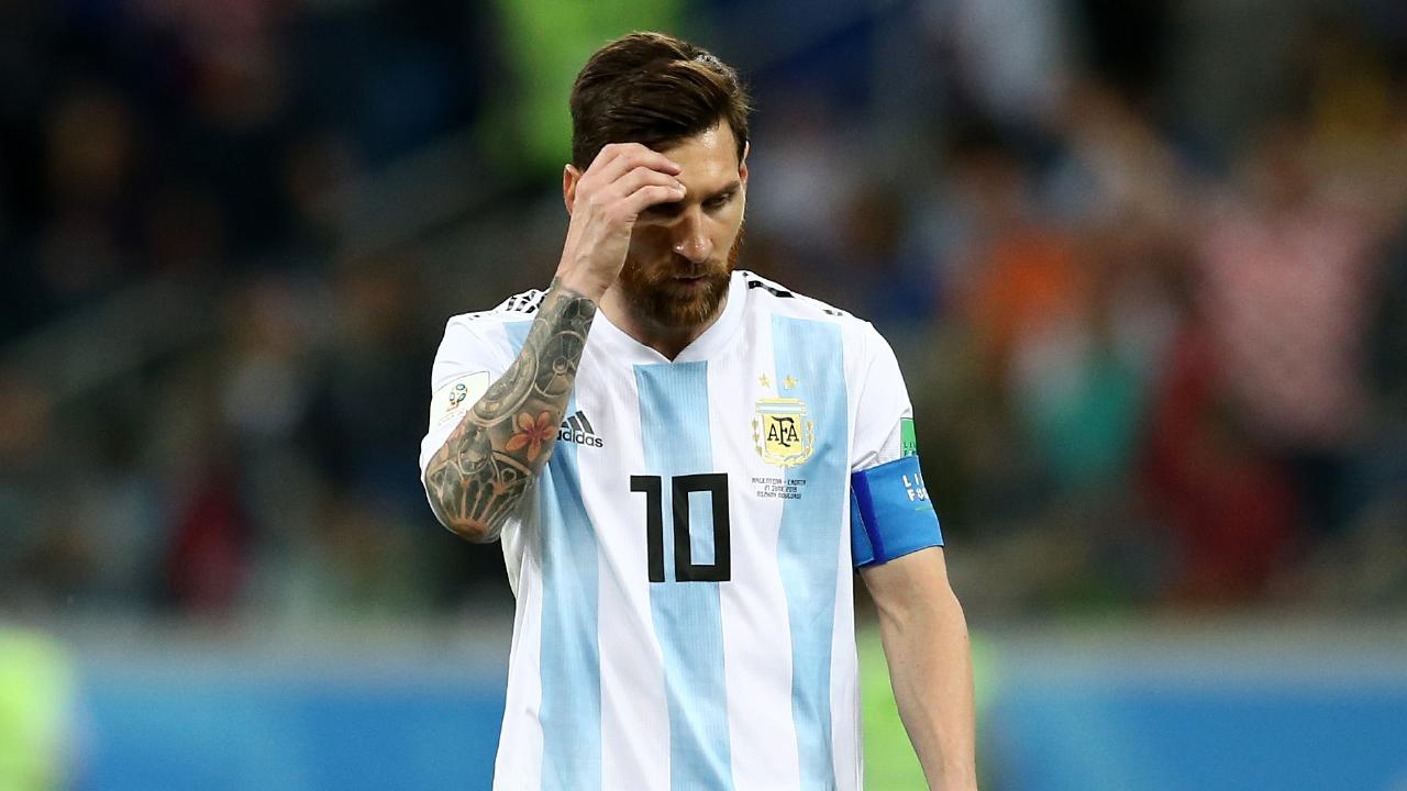 Lionel Messi shows his disappointment as Argentina went down 3-0 to Croatia.