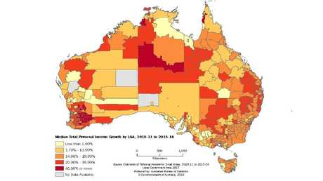 "ABS maps showing the local government areas in Australia by mean or ""average"" personal income levels."