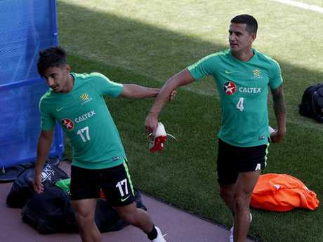 Arzani and Cahill muck around. Picture: Toby Zerna