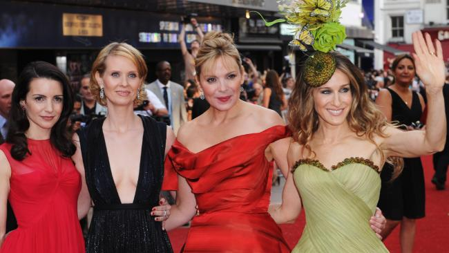 Cynthia Nixon (second from left) with her Sex and the City co-stars (l-r) Kristin Davis, Kim Catrall and Sarah Jessica Parker on the red carpet in London in 2008. Picture: Gareth Cattermole/Getty Images