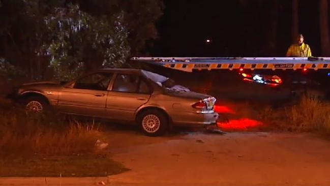 A 24-year-old man was killed after his car crashed into an embankment at Pimpama on Friday night. Picture: 7 News Gold Coast