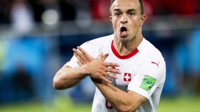 Switzerland's Xherdan Shaqiri celebrates after scoring his side's second goal.