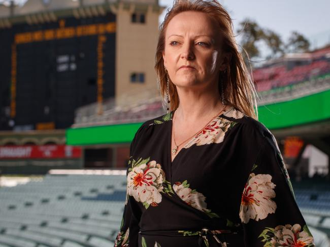 Suzie Ratcliffe, who was born 14 months after her sister Joanne's abduction, visits Adelaide Oval for the first time in 2016. Picture: Matt Turner.