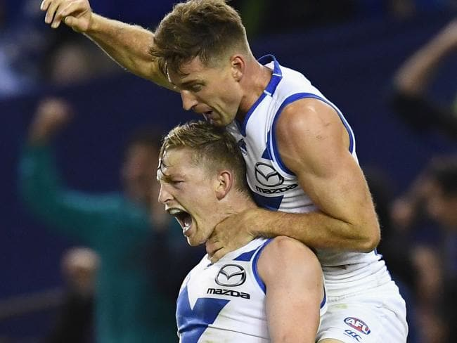 Jack Ziebell celebrates with matchwinner with Shaun Atley. Picture: Getty Images