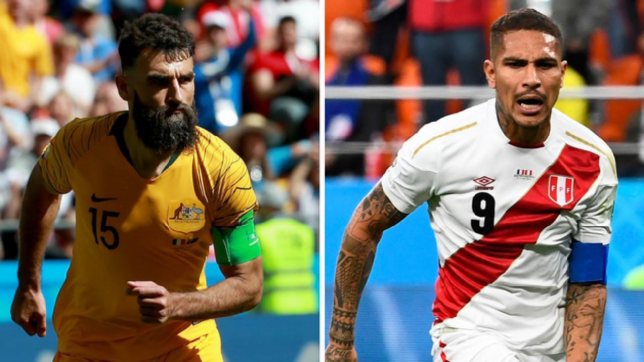 Socceroos captain Mile Jedinak and Peru captain Paolo Guerrero.