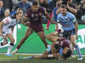 Josh Addo-Carr of the Blues (centre) scores a try during Game 2 of the 2018 State of Origin series between the NSW Blues and the Queensland Maroons at ANZ Stadium in Sydney, Sunday, June 24, 2018. (AAP Image/Craig Golding)