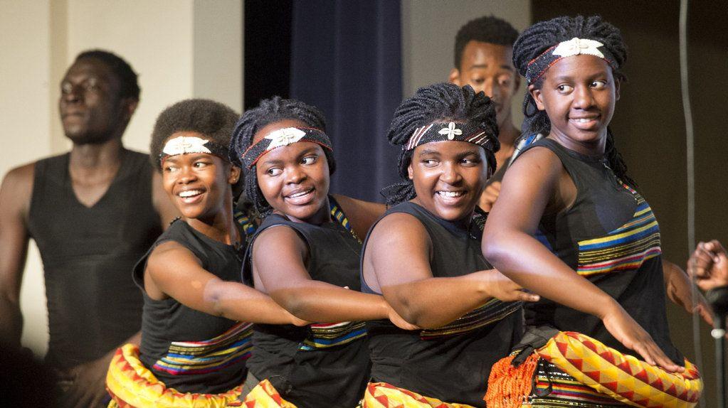 Patience Nalugo, Sarah Mwangale, Christine Bulyaaba and Martha Namujju. Ubuntu choir at Fairholme College. Saturday, 23rd Jun, 2018.