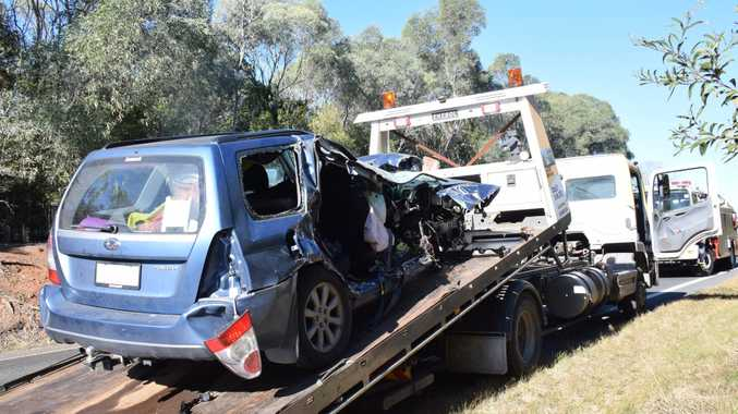 A female driver has been airlifted to Brisbane after a crash on the D'Aguilar Highway.