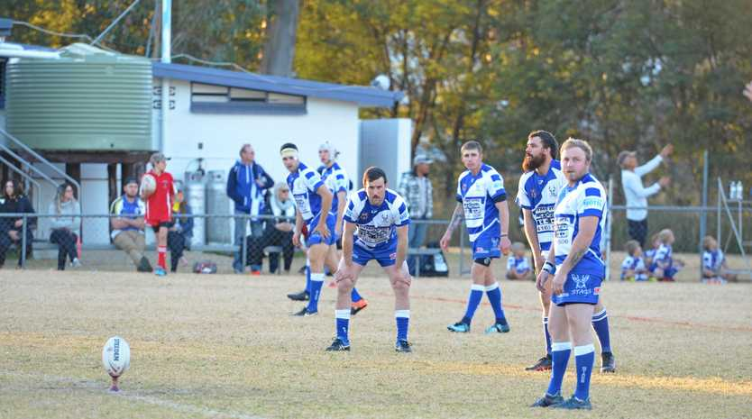 IT'S ON: The Nanango Stags ready for kick off.