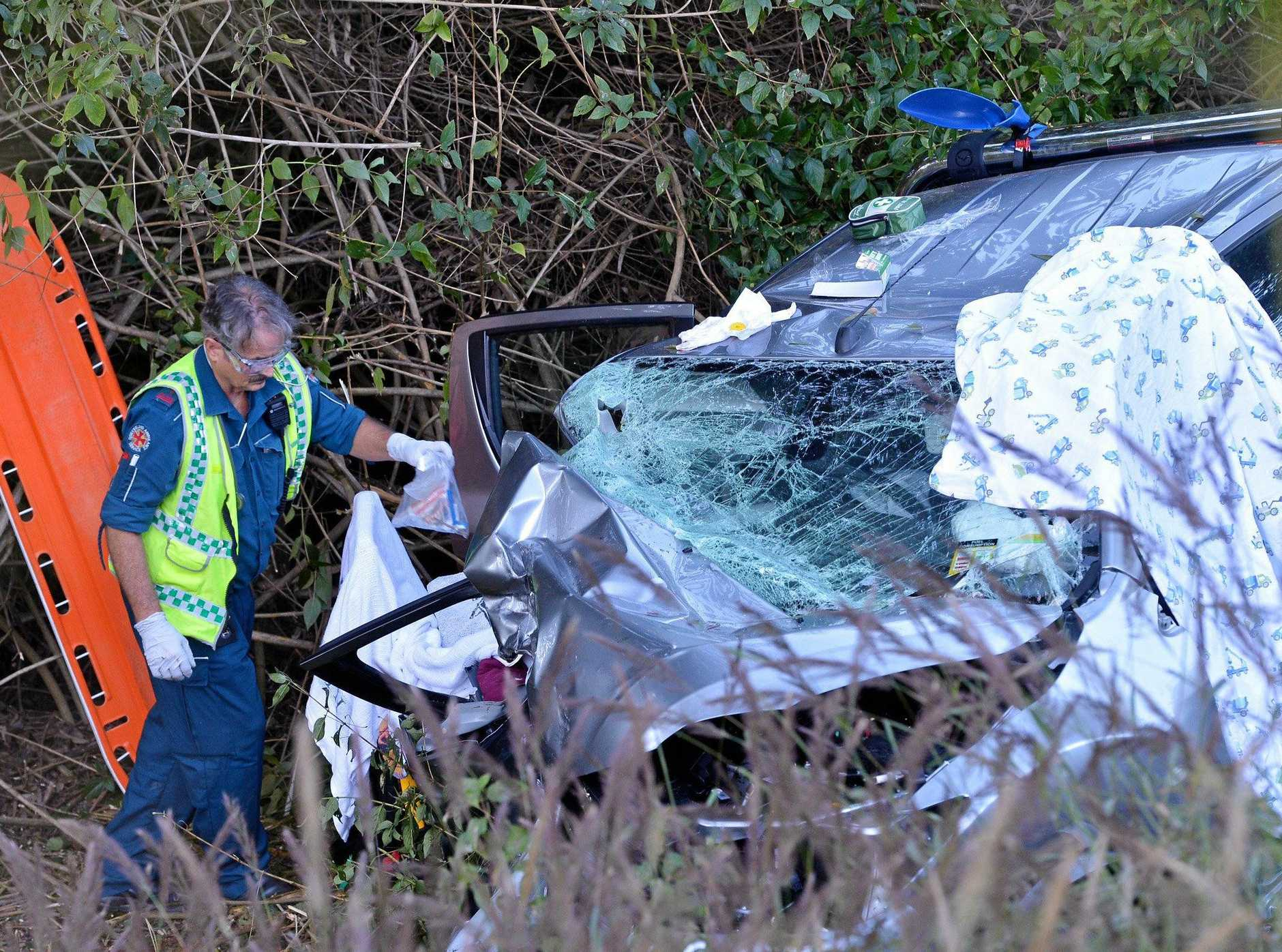 The scene of a fatal crash on Eumundi Noosa Rd were a man has died.