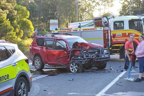 FIRE Brigade, police and ambulance rushed to a crash on the Eumundi-Noosa Road this afternoon which has claimed the life of one male driver.
