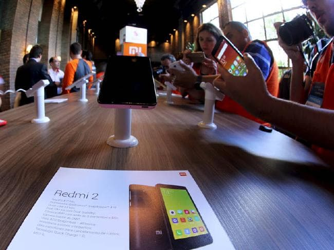 Xiaomi's Redmi 2 smartphones on display during a launch in Brazil in June, 2015.
