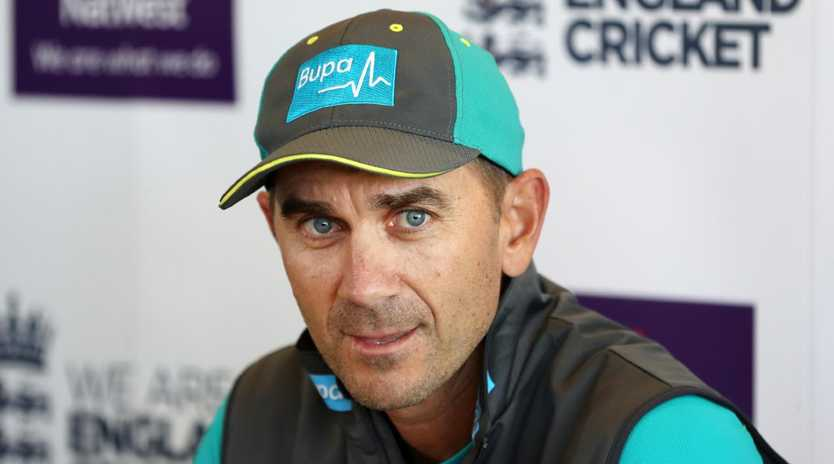 LONDON, ENGLAND - JUNE 06: Justin Langer, Manager of Australia speaks to the media during a press conference at Lord's Cricket Ground on June 6, 2018 in London, England. (Photo by Linnea Rheborg/Getty Images)