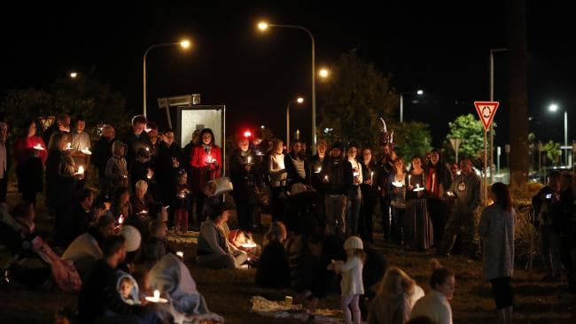 Dozens turned up for a candlelight vigil last Sunday — just hours after the fatal accident. Picture: AAP Image/Josh Woning