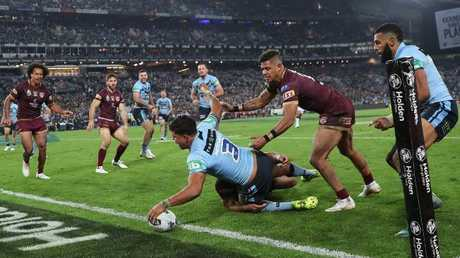 Latrell Mitchell gives NSW breathing space. (Phil Hillyard)