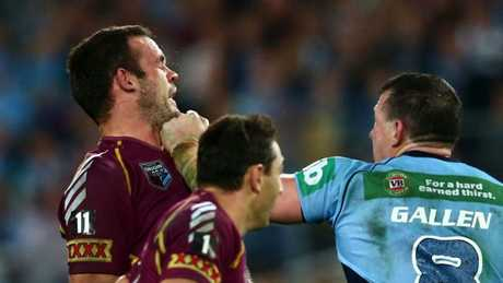 Paul Gallen and Nate Myles having a crack at each other. (Photo by Mark Kolbe/Getty Images)