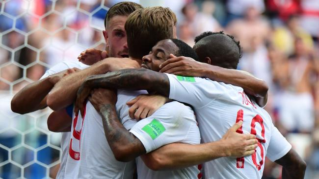 England players celebrate a goal against Panama. Picture: AFP Photo