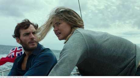 Shailene Woodley and Sam Claflin in a scene from Adrift.