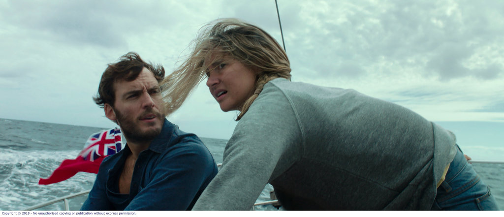 Shailene Woodley and Sam Claflin in a scene from Adrift.