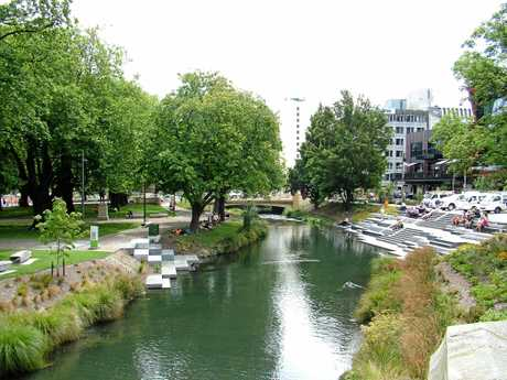 The peaceful Avon River meanders through the New Zealand city of Christchurch and gives no hint of the devastation the city suffered in the February 2011 earthquake.