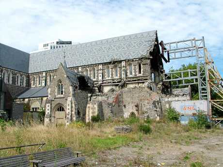 The iconic, Gothic-revival style Christchurch Anglican Cathedral suffered much damage in the February 2011 earthquake and awaits a NZ$100 million restoration.