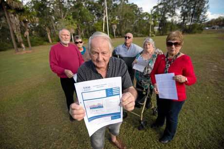 Residential park residents angry about power bills. David Moffitt with other residents Peter and Sandra Phillips, Rob and Dawn Thomas and Helen Willetts.