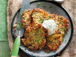 WINTER ZUCCHINIS: Zucchini and bacon fritters with garlic yoghurt.