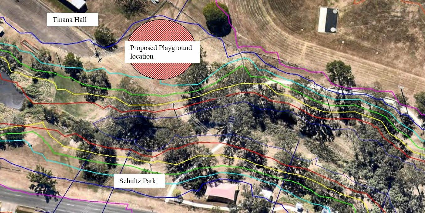 PARK PLANS: The original location for the Maryborough All-Abilities playground near the Tinana Hall, which has been deemed unsuitable due to being flood-prone.