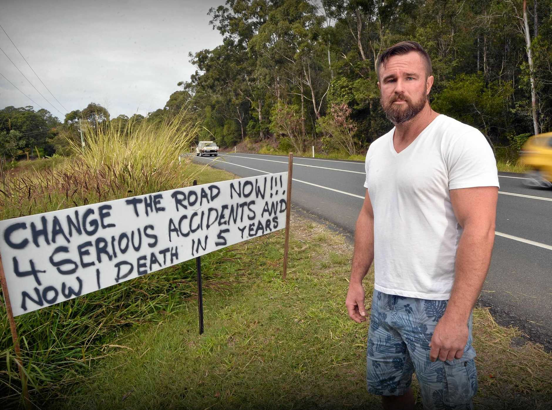 Resident of Eumundi Joshua Wiersma wants road fixed and speed limit lowered after attending a serious crash in front of his place yesterday.