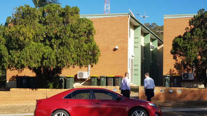 CRIME SCENE: Detectives arrived at the unit block this morning.