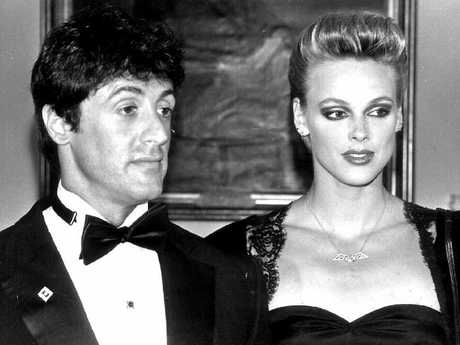 Brigitte Nielsen with her boyfriend Sylvester Stallone in 1985. Picture: UPI Entertainment/Supplied