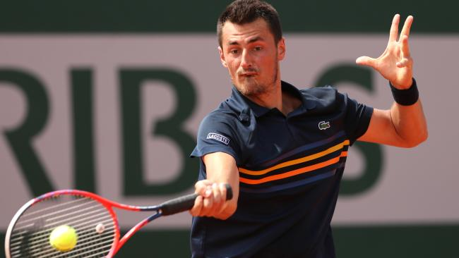 Bernard Tomic in action at the French Open.
