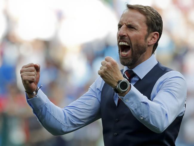 England head coach Gareth Southgate celebrates his team's 6-1 victory. Pic: AP