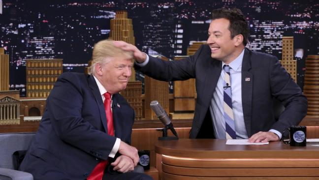 Jimmy Fallon says he regrets tousling Donald Trump's hair during the presidential campaign.