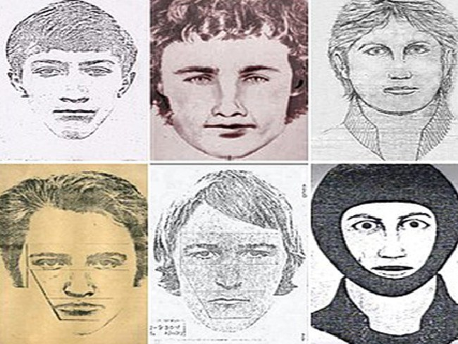 Golden State Killer photofits in his various alleged criminal pasts, which were all in California and near where DeAngelo lived.