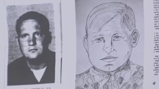 A young Joseph DeAngelo and a sketch of the man known as the 'Visalia Ransacker'.