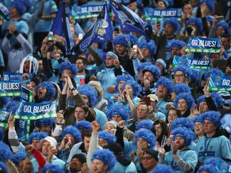 Blues fans during Game 2 of the State of Origin series between the NSW Blues and Queensland Maroons at the ANZ Stadium, Sydney. Picture. Phil Hillyard