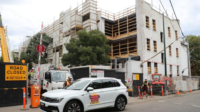 The Gatwick Hotel construction site in St Kilda. Picture: Alex Coppel