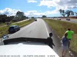 Truck dash cam footage of bike crash