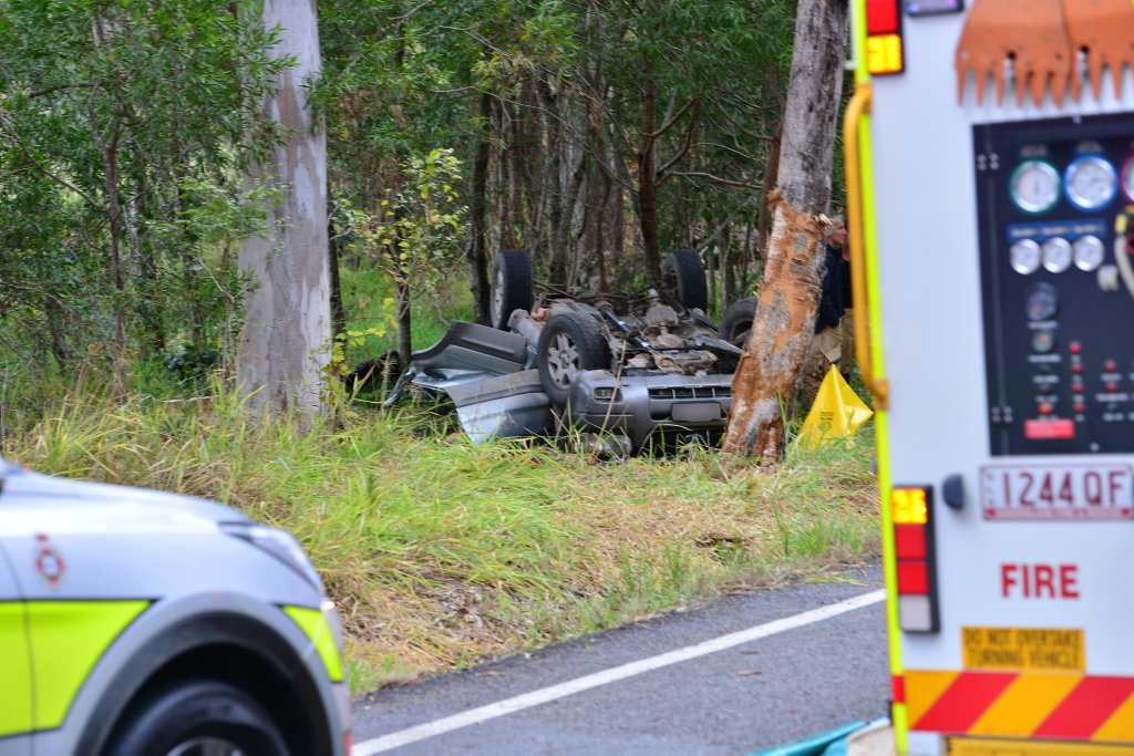 Emergencycrews at the scene of a fatal single vehicle accident at Moy Pocket Road.