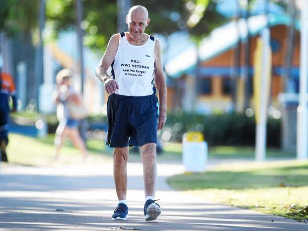 Vic Williams has just turned 90 and is taking part in the Townsville running festival and doing the half marathon.  Picture: Zak Simmonds