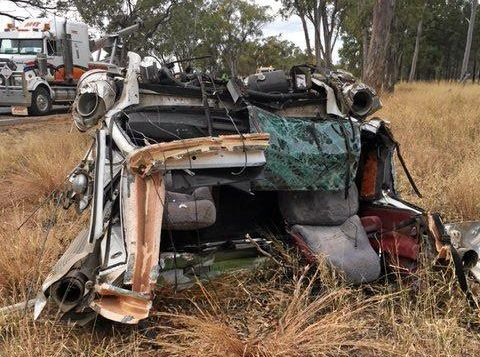 BAD CRASH: The semi-trailer rolled on the Leichhardt Highway at Kowguran, 15 km north of Miles last night.