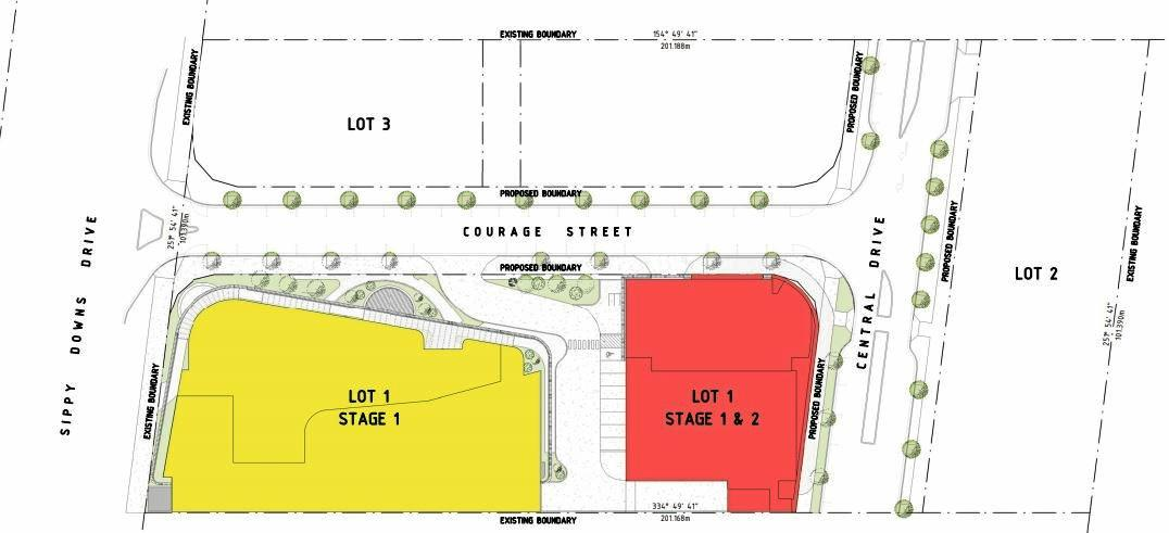 The proposed site at 83 Sippy Downs Dr, which outlines the locations of the two-storey RSL Club House (Stage 1) and six-storey multi-use car park, retail and unit building (Stages 1 and 2).