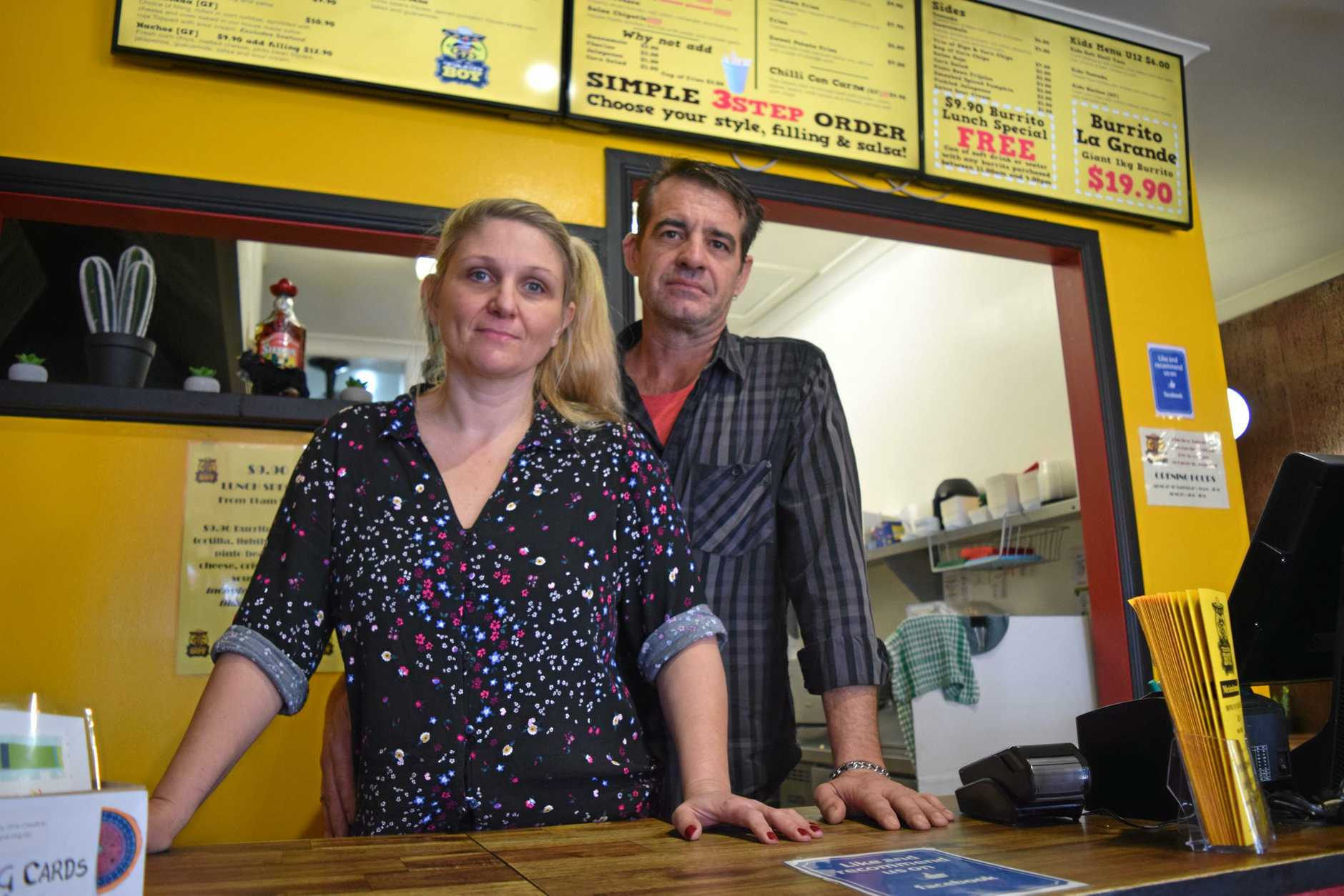 LOW BLOW: Nambour's Taco Boy owners Virginia Homer and Troy Hofstede are disappointed the Queensland Government's Back to Work program has been axed on the Sunshine Coast.